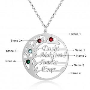 Collar Personalizado Árbol de la Vida Diseño 4 Nombres Color Plata