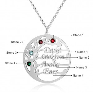 Necklace Custom Tree of Life Design 4 Names Colour Silver