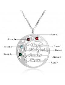 Personalisierte Halskette Baum des Lebens Design 4 Namen Silber Farbe