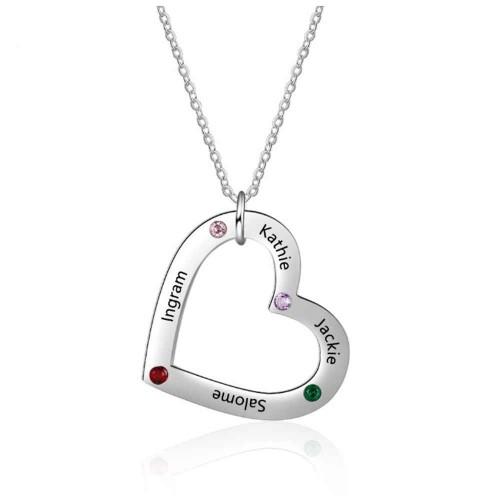 Necklace Custom Heart Simply 4 Names Colour Silver
