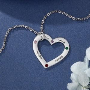 Collier Personnalisé Coeur Simply 4 Prénoms Couleur Argent 2