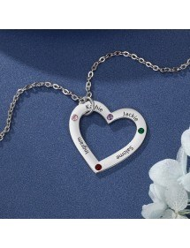 Necklace Custom Heart Simply 4 Names Silver Color 2