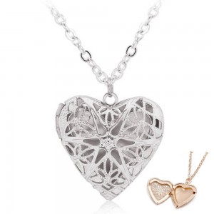 Ogrlica - Medaljon za srce za fotografiju - Dizajn - Srebrna