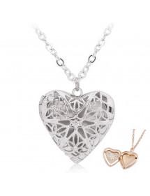 Náhrdelník - přívěsek na srdce pro foto - design - stříbrný