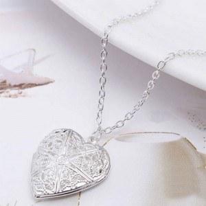 Collar - Relicario de corazón para foto - Diseño - Plata