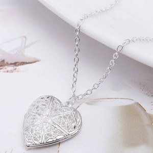 Necklace - Heart Locket for Photo - Design - Silver