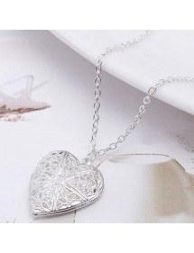 Collier - Médaillon Coeur pour Photo - Design - Argenté