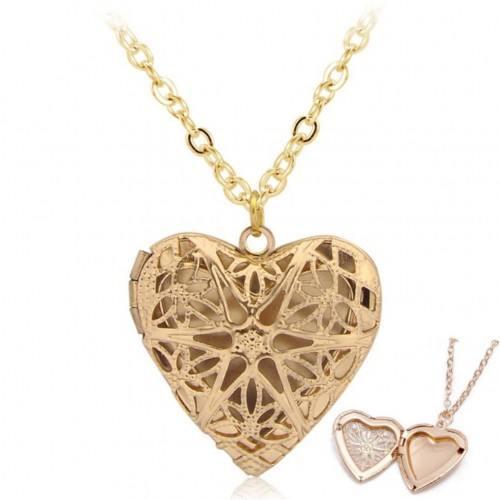 Necklace - Locket Heart for Picture - Design - Golden