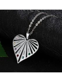 Halskette benutzerdefinierte Herz Palette 6 Vornamen Silber 2