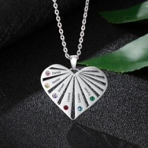 Halskette benutzerdefinierte Herz Palette 6 Vornamen Silber