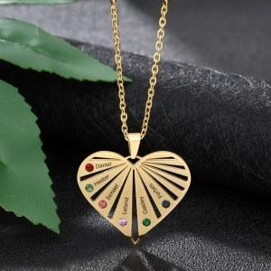 Necklace custom Heart Range 6 Names Golden