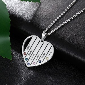 Necklace custom Heart Bars 6 first Names in Silver