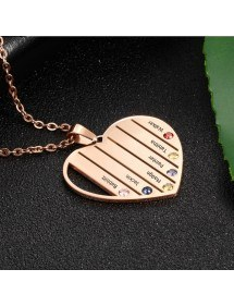 Halskette benutzerdefinierte Herz Stangen 6 Vornamen Gold Rose2