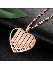 Halskette benutzerdefinierte Herz Stangen 6 Vornamen Vergoldet Rose Gold