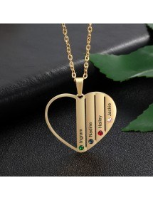 Necklace Custom Heart Bars 4 Names Golden 3