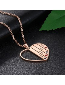 Halskette Benutzerdefinierte Herz Stangen 4 Vornamen Vergoldet Rose Gold 2