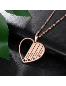 Halskette Benutzerdefinierte Herz Stangen 4 Vornamen Vergoldet Rose Gold