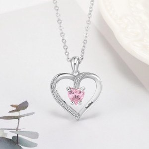 Necklace Custom Heart Design 1 First Name Silver 5