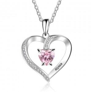 Collar Personalizado De Diseño De Corazón 1 Primer Nombre De Plata