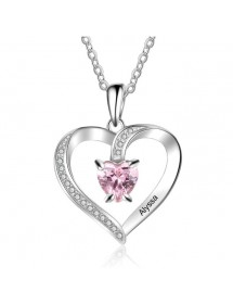 Necklace Custom Heart Design 1 First Name Silver