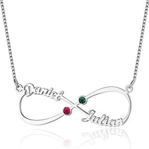 Halskette Unendlich Custom 2 Vornamen Steine Geburten V3 Silber