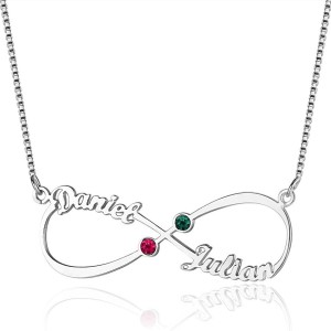 Necklace Infinity Personalized 2 Names Stones Births V3 Silver