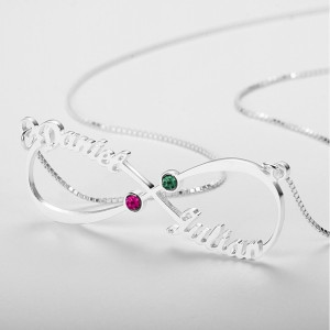 Halskette Unendlich Custom 2 Vornamen Steine Geburten V3 Silber 2