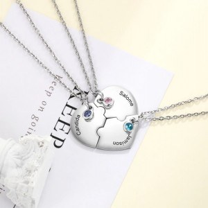 Halsband Anpassad Hjärtat BFF Bästa Vänner 3 Namn Silver 3