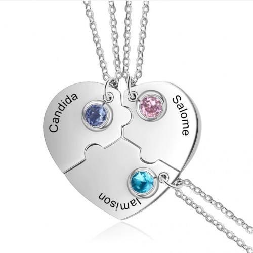 Necklace Custom Heart BFF Best Friends 3 Names Silver