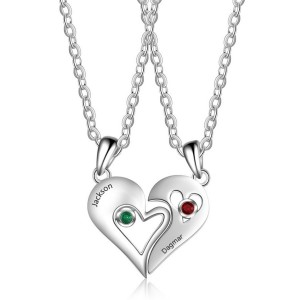 Necklace Personalized Heart Couple 2 Names Silvery Stones, Births