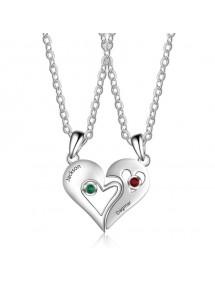 Halskette Benutzerdefinierte Herz Drehmoment 2 Vornamen Silber Steine Geburten