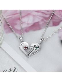 Halskette Benutzerdefinierte Herz Drehmoment 2 Vornamen Silber Steine Geburten 2