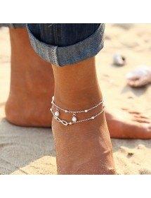 Catena della Caviglia Infinito e Perle - Blanc_Argent 3