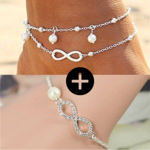 Pack Kedja Vrist Armband Infinity Pärlor Silver