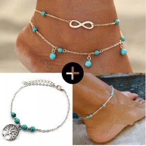Pack Chains Ankle Infinity Pearl Tree Of Life Silver Blue