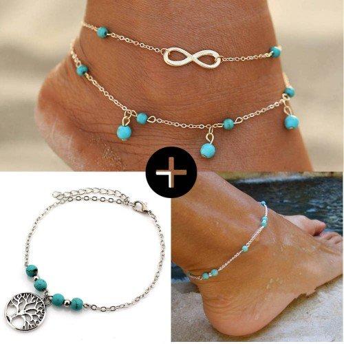 Pakuotėje Grandines Kulkšnies Infinity Pearl Gyvybės Medis Pilka Mėlyna