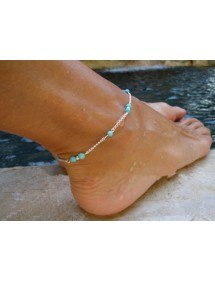 Chain ankle silver-tone blue beads