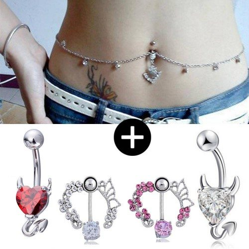 Pack Of 5 Body Piercing Navel Devil Contour Size White Silver Pink Red
