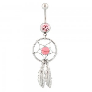 Piercing Belly Button Catcher Dream Surgical Steel Silver Pink