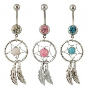 Pack 3 Piercing Ombelico Catcher Sogno Argento Rosa Blu Bianco