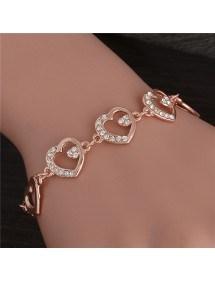 Bracelet of Large Hearts in Gold