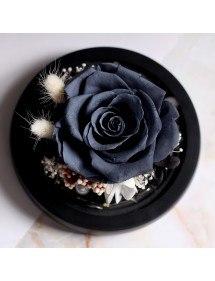 Вечна черна роза истинска под камбана в стъкло и светлини
