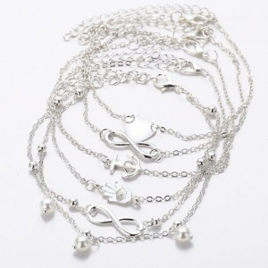 Catena alla Caviglia pack di 5 Infinità di Perle e Cuore in Argento Bianco