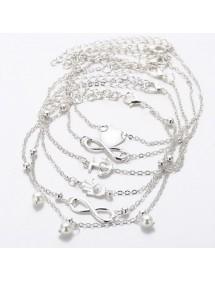 Chaine de Cheville Lot de 5 Infini et Perles Coeur Argenté Blanc