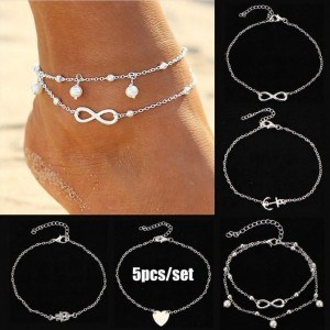 Chain Ankle pack of 5 Infinity Pearl and Heart Silver White