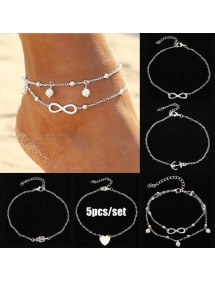Kedjan Vrist 5-pack Infinity Pärla och Hjärta Silver Vit