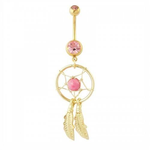 Piercing Ombligo Catcher Sueño De Acero Quirúrgico Oro Rosa