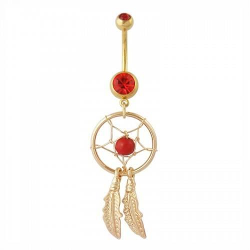 Piercing Belly Button Catcher Dream Surgical Steel Golden Red