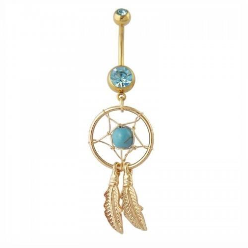 Piercing Ombligo Catcher Sueño De Acero Quirúrgico Oro Azul Cian