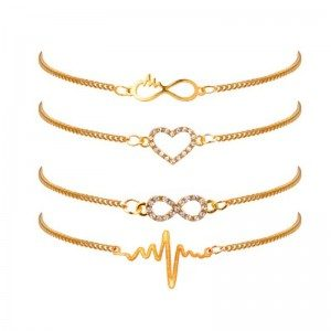 Bracelet Lot of 4 Infinity Heart Beating Golden